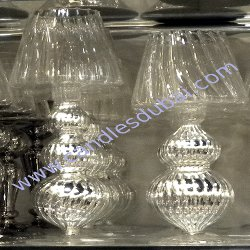 Candle Holders Silver Glass.