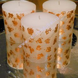 Designer Gold Print Pillar Candles