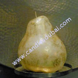 Designer Pear Gold Silver Candle