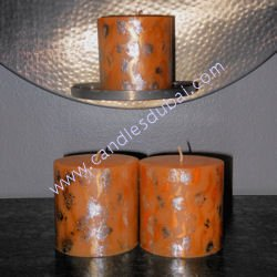 Designer Silver Print Colored Candles